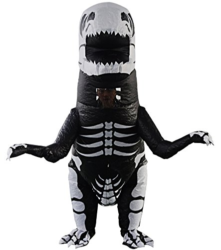 T-Rex Dinosaur Inflatable Costume for Kids Giant Skeleton Dino Costumes Cosplay Blow Up Suit Fancy Dress (Kids Skeleton T-rex)
