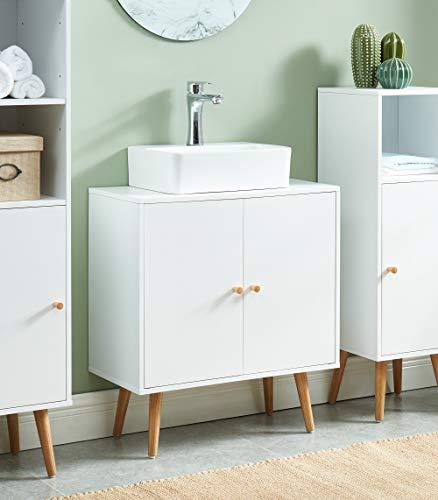 BAïTA Max Waschbeckenunterschrank, weiß und Eiche, 60 x 29,5 x 65 cm