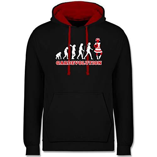 Shirtracer Karneval & Fasching - Gardevolution Garde Evolution Weiß Rot - XS - Schwarz/Rot - s-Gard - JH003 - Hoodie zweifarbig und Kapuzenpullover für Herren und Damen