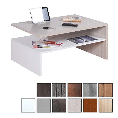 RICOO WM080-W-EP, Kleiner Tisch, 90 x 60 x 42 cm, Holz Weiß und Eiche Hell-Braun Beige, Fernseher TV Wohnzimmer-Tisch, Couch-Tisch mit Stauraum