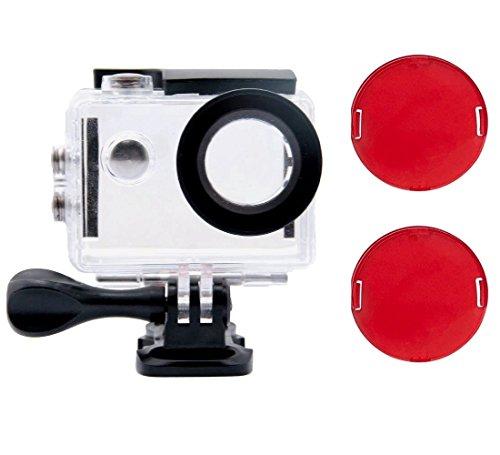 Tekcam Wasserdichtes Gehäuse mit 2 roten Filtern kompatibel mit AKASO EK7000 / DBPOWER EX5000 / Vemont/FITFORT/Neewer G1 / APEMAN 1080P Unterwasserkamera