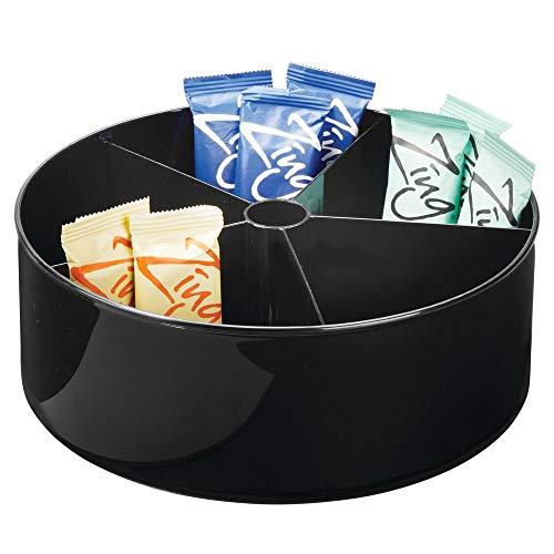 mDesign - Draaiplateau - carrousel/kruidenrek - ideale opberger in de keuken voor levensmiddelen en accessoires - diep/plastic - Zwart - per 4 stuks verpakt