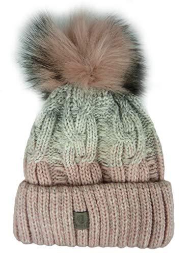 achti Mütze Noel Fell Pompon, Damenmütze, Einheitsgröße ca. 56-62 (Mehrfarbig grau rosa) 1900PC