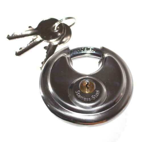 1 Vorhängeschloss rund 70mm Schloß 2 Schlüssel Sicherung für Anhänger Kastenschloß Neu Old-Harvest