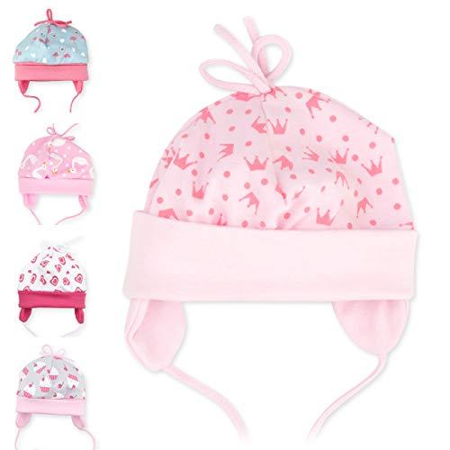 Baby Sweets Baby Mütze für Mädchen in Rosa als Erstlingsmütze im Motiv Sweet Princess/Babymütze für Neugeborene & Kleinkinder zum Binden in der Größe: 9 Monate (74)