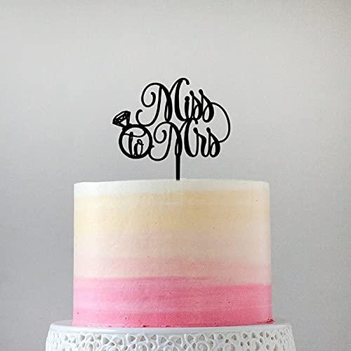 Decoración para tarta de boda de acrílico con purpurina de oro rosa Mr & Mrs, para fiestas de despedida de soltera, aniversarios, cumpleaños, 6 pulgadas.
