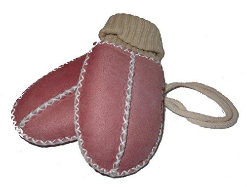 Baby-Lammfell-Handschuhe / - Fäustel mit Strickbündchen, rosa