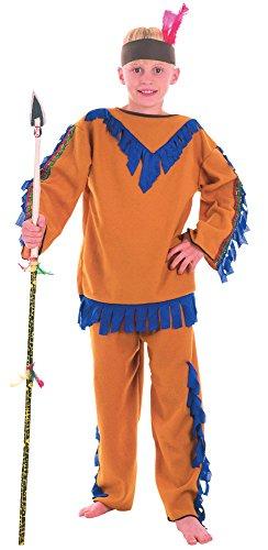 Bristol Novelty CC374 Costume de Garcon Indien Budget, Taille L, Age 7-9 Ans, Bleu, Grand