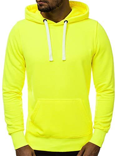 OZONEE Herren Kapuzenpullover Sweatjacke Sweatshirt Farbvarianten Kapuzenjacke Kapuzenpulli mit Reißverschluss Langarm Hoodie Sport Style Casual Fitness Training Basic A/1010 GELB-NEON XL