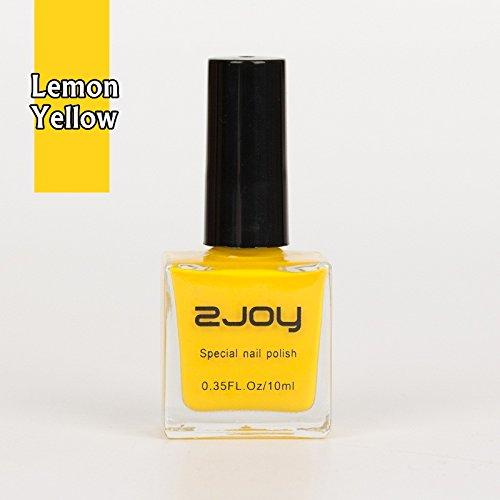 Joligel Pintauñas Esmalte Gel Especial Denso para Estampación Uñas Estampado Manicura Nail Art Stamping Decoración Diseño de Uñas, 10ml, Amarillo Limón