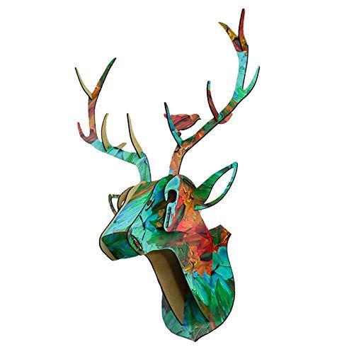 #N/A/a Testa di Cervo in Legno Decorazione della Parete Corna Scultura Fai da Te Puzzle 3D Decorazione della Parete portaoggetti Rack per Soggiorno Ufficio - 003