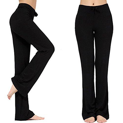 Women's Long Modal Comfy Drawstring Trousers Loose Straight-Leg for Yoga Running Sporting (Black, XXL)