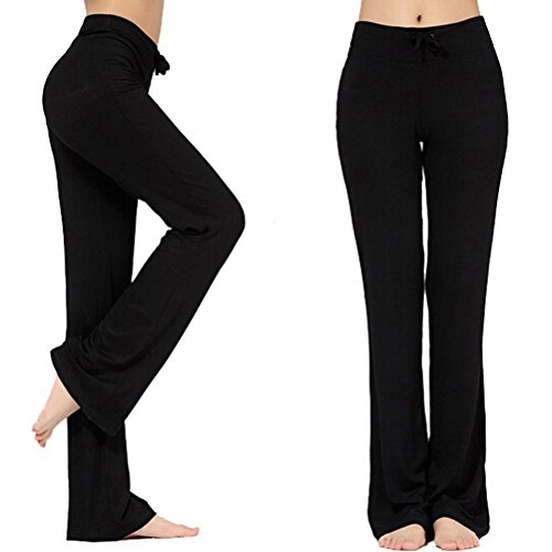 Women's Long Modal Comfy Drawstring Trousers Loose Straight-Leg for Yoga Running Sporting (Black, M)
