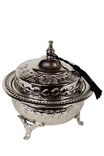 Orientalische Zuckerdosen Dosen aus Messing in Silber Etana 14cm | Marokkanische Minzdose Tee Kaffee Dose klein | indische Vintage Vorratsdose Gewürzdose rund | Orientalische Dekoration auf dem Tisch