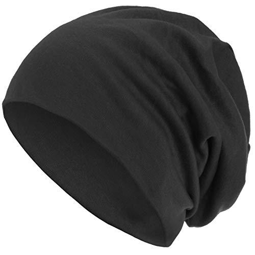 style3 Warme Herbst Winter Slouch Beanie XXL aus atmungsaktivem, feinem und leichten Jersey Unisex Mütze Wintermütze One Size, Farbe:Anthrazit