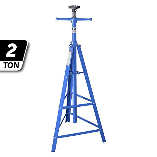 K Tool International Underhoist Support Stand XD, 2 Ton Tripod High Lift, Bearing Mounted Spin Handle, Height up to 80 Inches, 24 Inch Triangle Base KTI61002