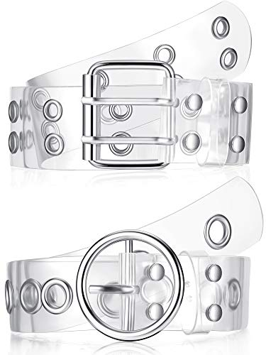 2 Piezas Cinturones de Doble Arandela Transparente Cinturón de Ojal Transparente Cinturón de Cintura de PVC con Hebilla