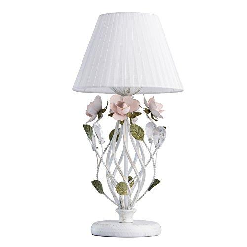 MW-Light 421034801 Lampe de Table Florale en Métal Blanc Doré Abat-jour en Tissu Blanc ornée de Fleurs Feuilles Rose Vert Cristal pour Salon Table de Chevet Haut.49Cm 1x40W E27