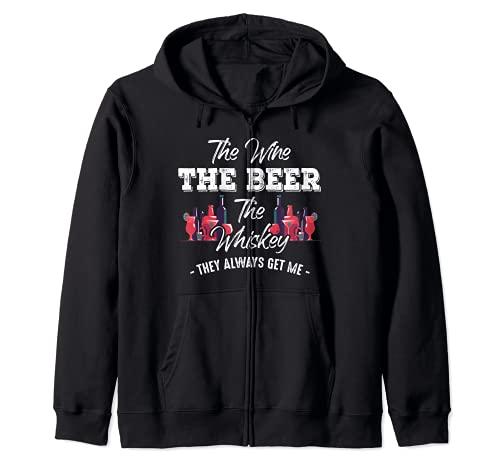 El Vino La Cerveza El Whisky Siempre Me Obtener Divertido Sudadera con Capucha