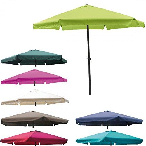 4 meter Sonnenschirm mit Kurbel und Krempe lime-grün