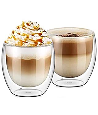 DOUBLE WALL GLASS CUP, Set of 2, 250ML, 9 OZ, Coffee, Espresso, wine, tea, hot & cold drinks cup By Urbino USA