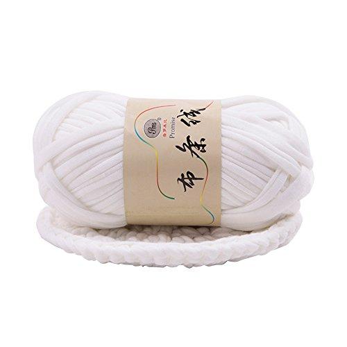 ZHOUBA - Manta tejida a mano con hilo grueso trenzado, tejido de ganchillo, poliéster, Blanco suave., talla única