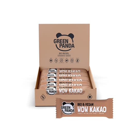 """Barritas veganas, Snack Paleo vegano puro, y con ingredientes orgánicos. Barritas energéticas 12x30g en una caja sabor """"Wow Cacao con Almendras"""" de Green Panda"""