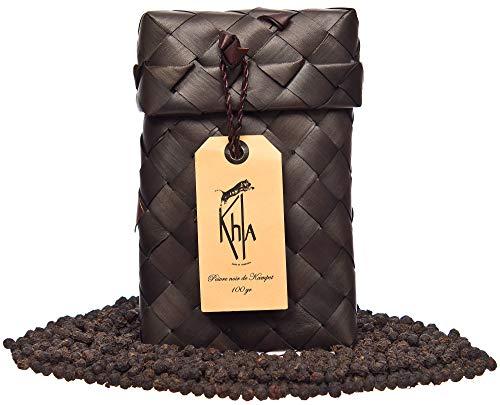 KHLA - Poivre Noir de Kampot Premium IGP - 100g - Poivre en Grains en Sachet - Issu de l'Agriculture Biologique - Emballage Traditionnel en Feuilles de Palme