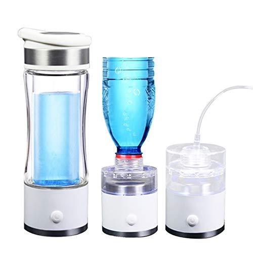 Water Purifiers Bouteille d'hydrogène Riche Eau Portable Purificateur d'eau hydrogène Générateur Bouteille en Verre H2 Lonizer Électrolyse Coupe 5000ppb Max (Color : White)
