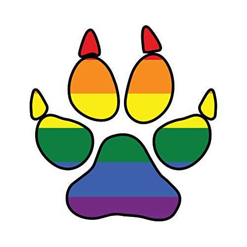 Dark Spark Decals Rainbow Gay Pride Dog Pawprint Furry Pride - 4 Inch Full Color Vinyl Decal for Indoor or Outdoor use, Cars, Laptops, Décor, Windows, and More