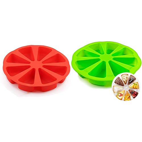 2 Pack Silicone Baking Molds, Triangle Cake Pan DIY 8 Cavity Silicone Scone Pan, Cakes Slices Mold, Pizza Baking Molds, Bread Mold molds for baking