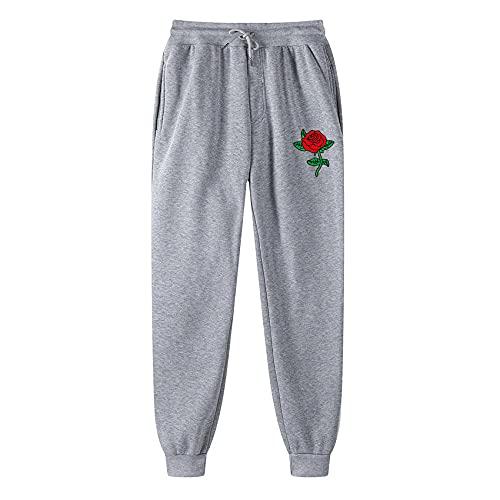 Dwqlx Pantalones Casuales de Jogging de los Hombres Pantalones Deportivos de Fitness Pantalones de Fitness Sudadera Sudadera Strong Black Jogging-Gris_3XL