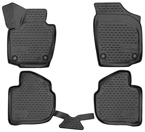 Walser XTR Gummifußmatten kompatibel mit Skoda Rapid Baujahr 07/2012-12/2019, passgenaue Auto Gummimatten, Autofußmatten Gummi
