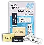 MONT MARTE Gomas de Borrar - 4 piezas - Borradores de diferentes tamaños - Calidad Premium - Ideal para borrar Grafito y Carboncillo - Perfecto para Principiantes, Profesionales y Artistas