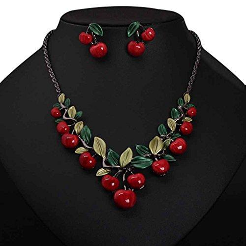 GOTTING Red Cherry Halskette Ohrringe Set Schmuck Dinner Dress Bride Zubehör