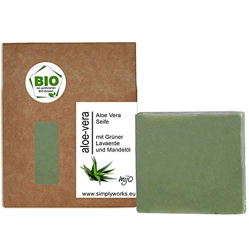 Mijo ALOE VERA Seife für Gesicht handgemachte Naturseife mit Grüner Lavaerde und Mandelöl, ohne Palmöl , vegan & plastikfrei ca. 100g