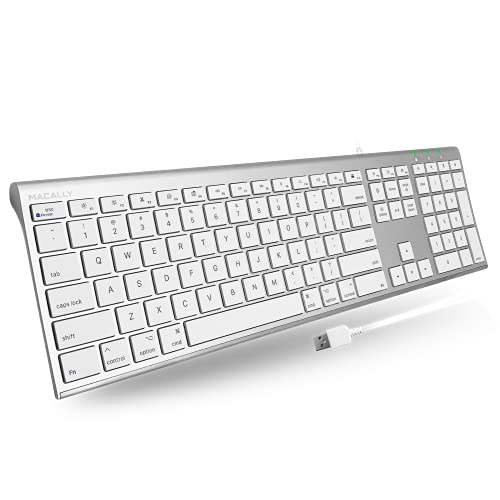Macally Ultra-Slim USB Wired Computer Keyboard for Apple MacBook Pro, Air, iMac, Mac Mini, Windows PC Laptops/Desktops and Notebooks | Plug and Play – No Drivers | Silver Finish