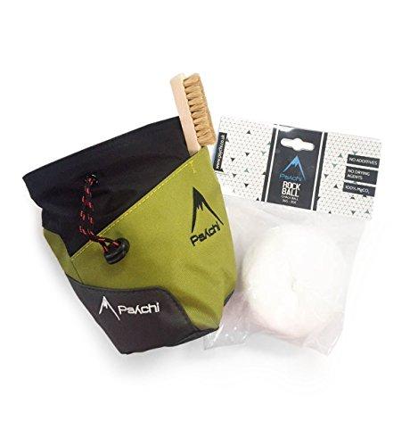 Psychi Premium-Kreidebeutel, Starter-Pack für Bouldern/Klettern, mit Taillen-Gürtel, Kreide-Ball und Bürste., grün