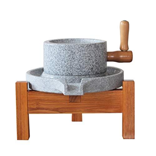 WSWJQY Molino de Piedra Material de Granito Superficie Superior en Forma de Disco Corredores Lisos Aleros Que gotean Patín Resistente al Agua y Marco de Madera Fácil de operar Molino de Granos