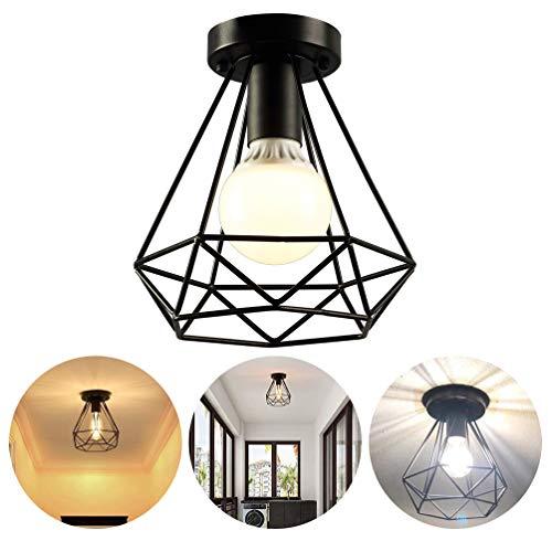 GOLDGOD Plafond Vintage Lumière, Fer Noir Forme de Diamant Pendentif Lumière Décoration E27 pour Hall D'entrée Cuisine Hôtel Restaurant Bar