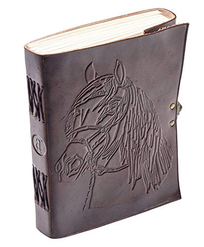 leather journals Fair Trade Tree Of Life Design Leather Journal Diary Notebook for Men Women (HORSE) (HORSE)