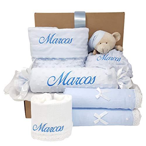 Mi Capricho Regalo para Bebé Personalizado, Cesta de Recién Nacido con Manta personalizada y Dou Dou (Azul)