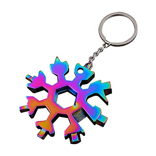 Snowflake Tool 18-in-1 Snowflake Multi-Tool Stainless Steel Snowflake Bottle Opener Flat Phillips Screwdriver Kit Wrench Durable and Portable to Take Great Christmas Gift(Colorful)