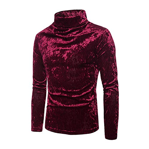 Mens Velvet Velour Long Sleeve T Shirts Turtleneck Slim Fit Pullover Top (Red, M)