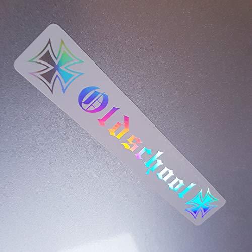 Foliezentrum 1 x Oldschool kruis UV wit flip flop 347 hologram olieslik regenboog sticker metallic effect Shocker Auto JDM Tuning OEM Dub Decal Sticker Illest Dapper Oldschool