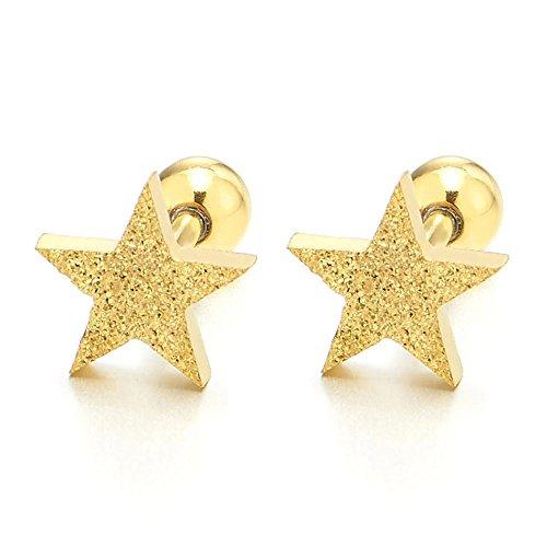 Color Oro Estrella Pendientes de Hombre Mujer, Aretes, Acero Inoxidable, Satinadoado, Cierre Tornillo, 2 Piezas