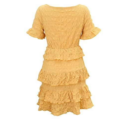 NOBRAND Verano Mujer Midi Manga Corta Color Sólido Cuello Redondo Medio Largo Plisado Capas Vestido de Pastel Casual Moda Boda Fiesta Oficina Dama de Honor Vestido