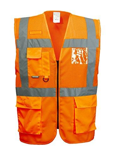 Warnweste mit vielen Taschen, atmungsaktiv, atmungsaktiv, orange