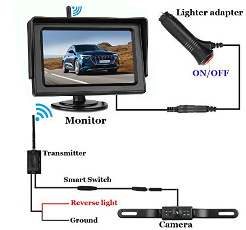 AMTIFO HD 720P Wireless Backup Camera for Cars,SUVs,MiniVans,4.3 Inch Monitor Reversing System with Adjustable Rear/Front View Camera,Guide Lines On/Off,IP69 Waterproof
