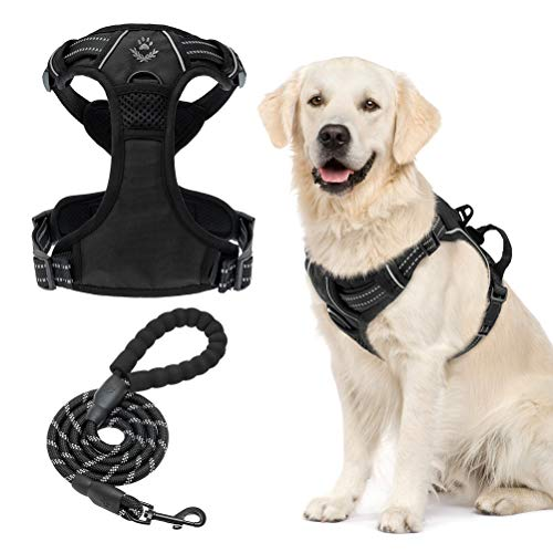 No Pull Dog Harness and Leash Set, Adjustable Reflective Vest Harness for Medium Large Dogs Outdoor Training Walking, Comfortable Oxford Easy Control Heavy Duty Handle Dog Harness with 5 FT Leash